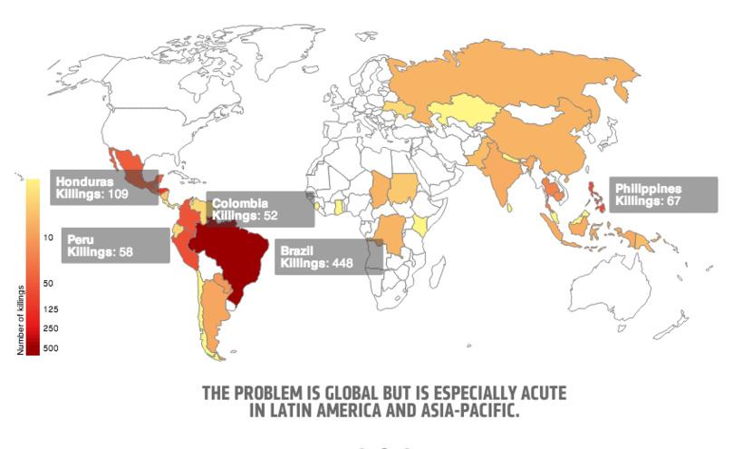 Entre 2002 et 2013, 908 personnes sont mortes dans un des « conflits environnementaux »