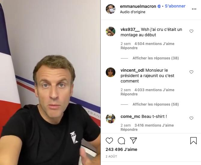 DR - Impression d'écran d'une publication Instagram du compte officiel d'Emmanuel Macron