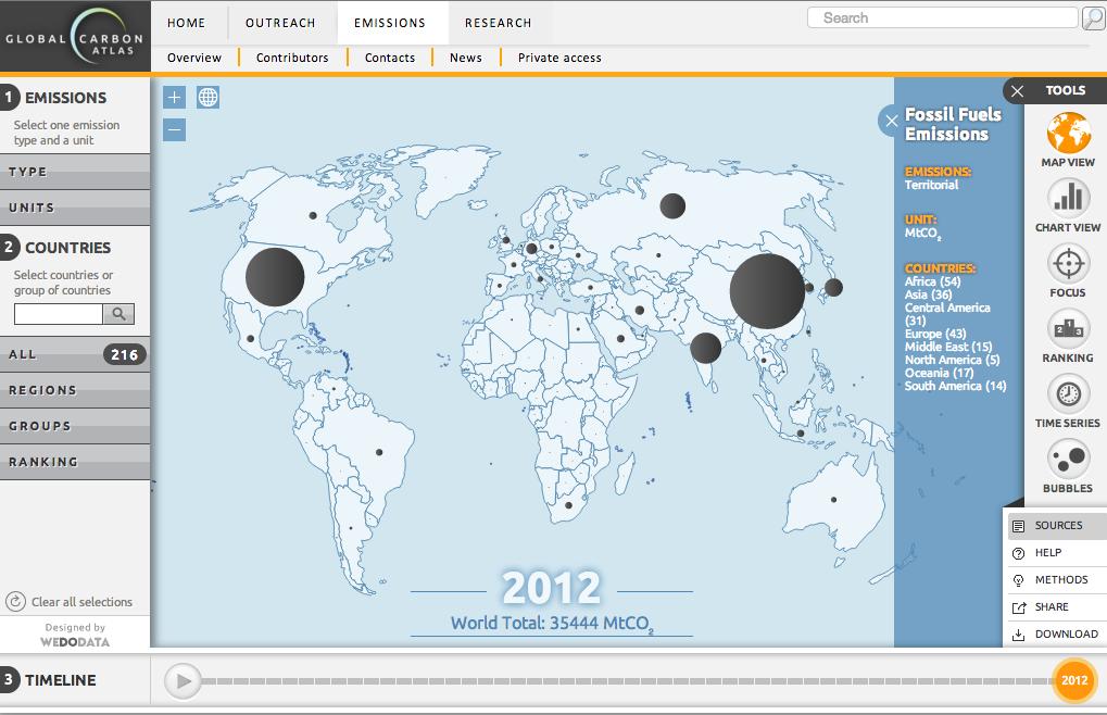 Un Atlas en ligne des émissions de CO2